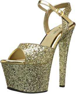 Pleaser SKY-310SQ Women/'s Black Sequins Pewter Chrome High Heel Platform Sandals
