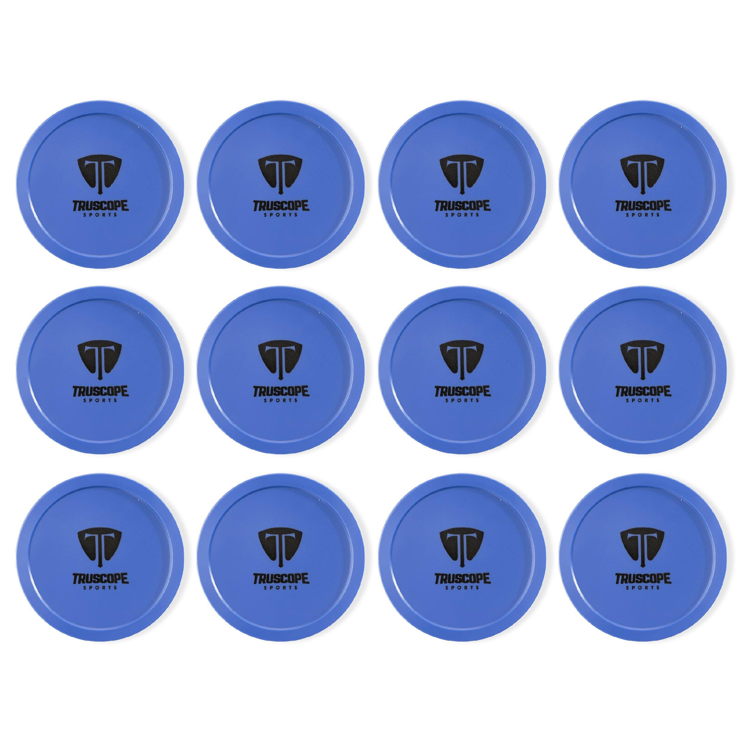 Truscope Sports 12 Pack 3 1/4 Inch Air Hockey Pucks (Blue)