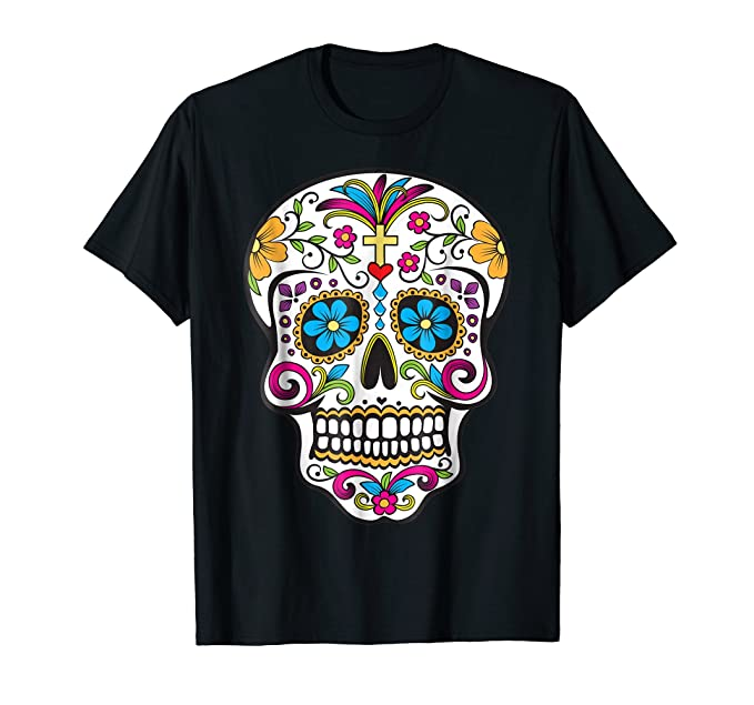 amazon com day of the dead sugar skull t shirt clothing