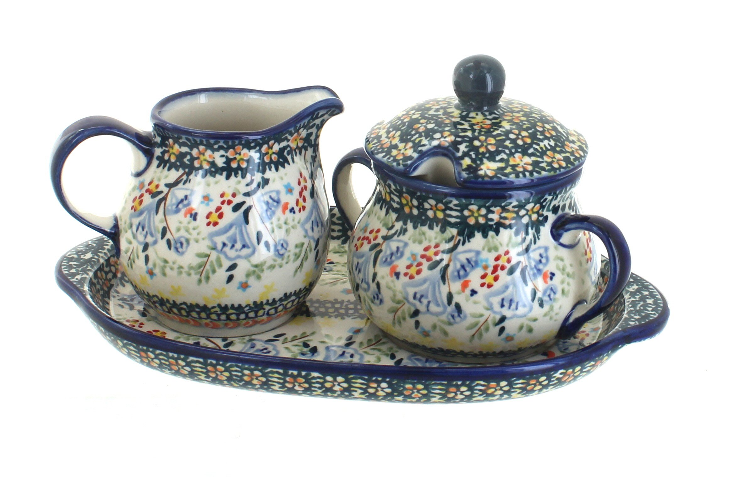 Polish Pottery Periwinkle Sugar & Creamer with Tray