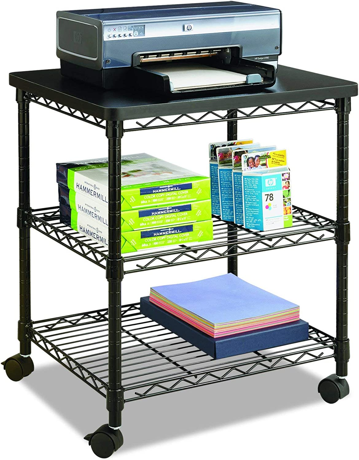 Safco Products Deskside Wire Machine Stand 5207BL, Holds up to 200 lbs.,Black: Home & Kitchen