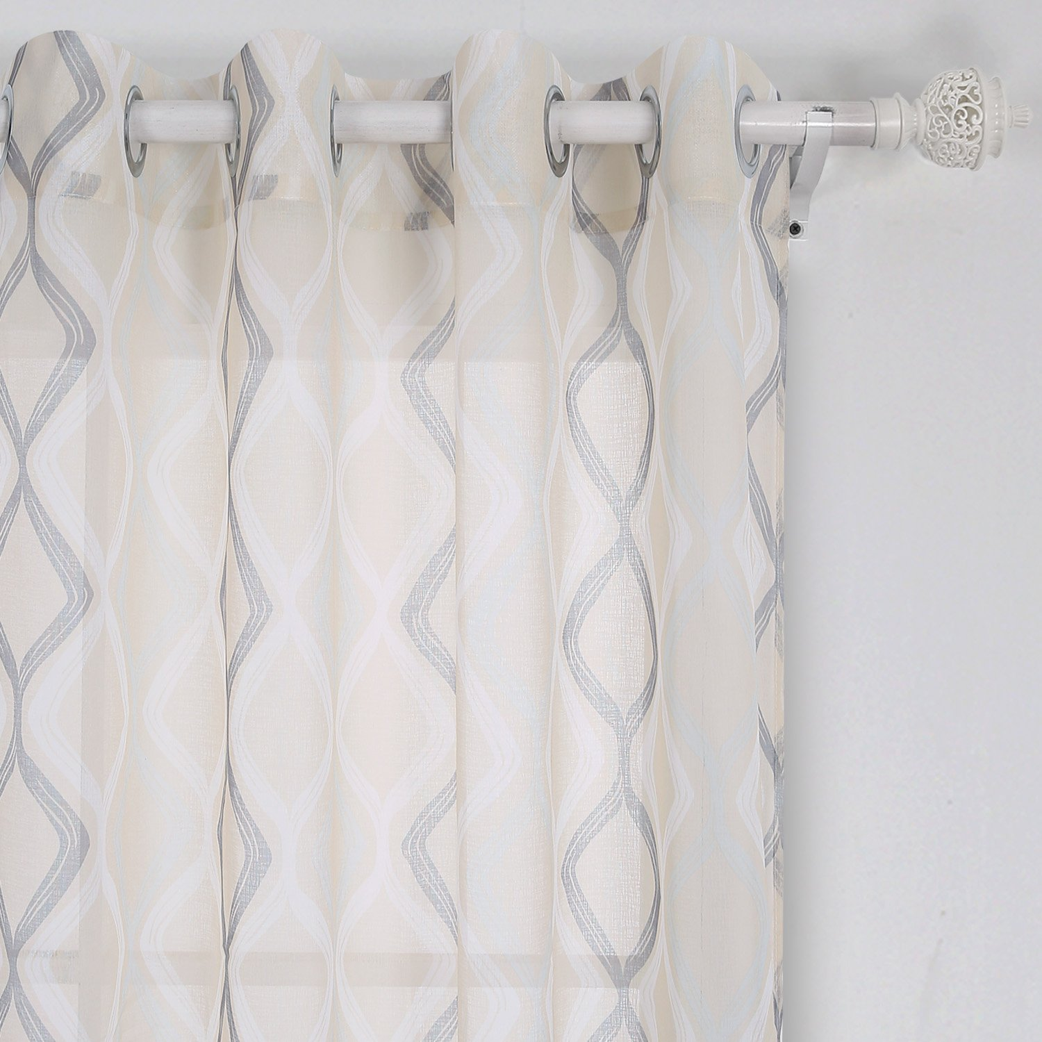 Deconovo Decorative Light Filtering Wave Print Woven Voile Panel Sheer Window Curtains