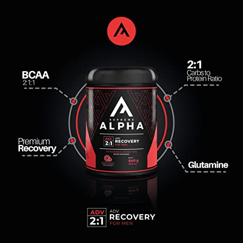 Supreme Alpha Advanced, Post Workout Recovery and Immune System Booster Supplement for Men, Muscle Builder, with Protein Powder and Carbohydrates, BCAAs, Glutamine, 15 Large Servings