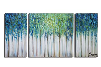 Artland Hand Painted 24x48 Inch Blue Memory 3 Piece Gallery Wrapped Abstract Oil Painting On Canvas Wall Art Set