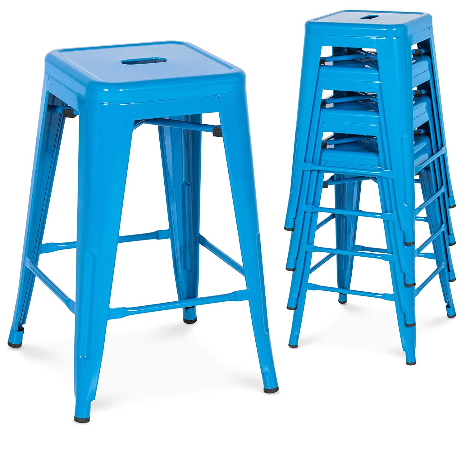 Best Choice Products 24in Set of 4 Indoor Outdoor Stackable Backless Counter Height Stools – Blue