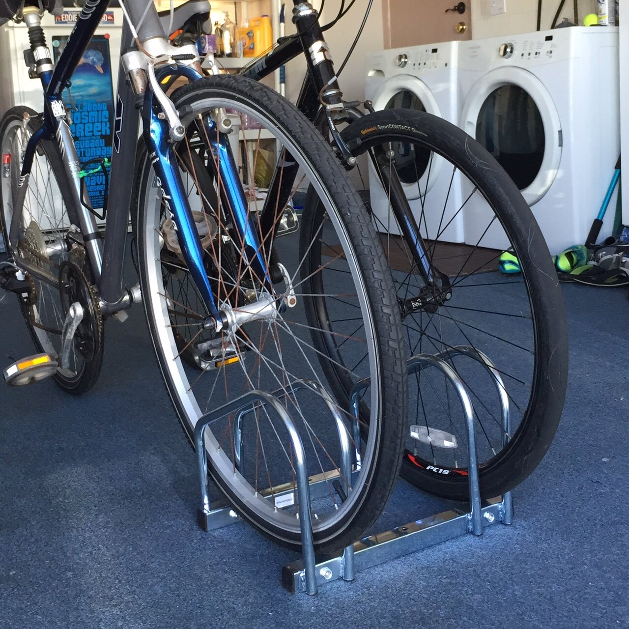 EasyGoProducts EGP-BIK-002 EasyGo Floor Stationary Double Wheel Rack None Outdoor Bike Stand Indoor