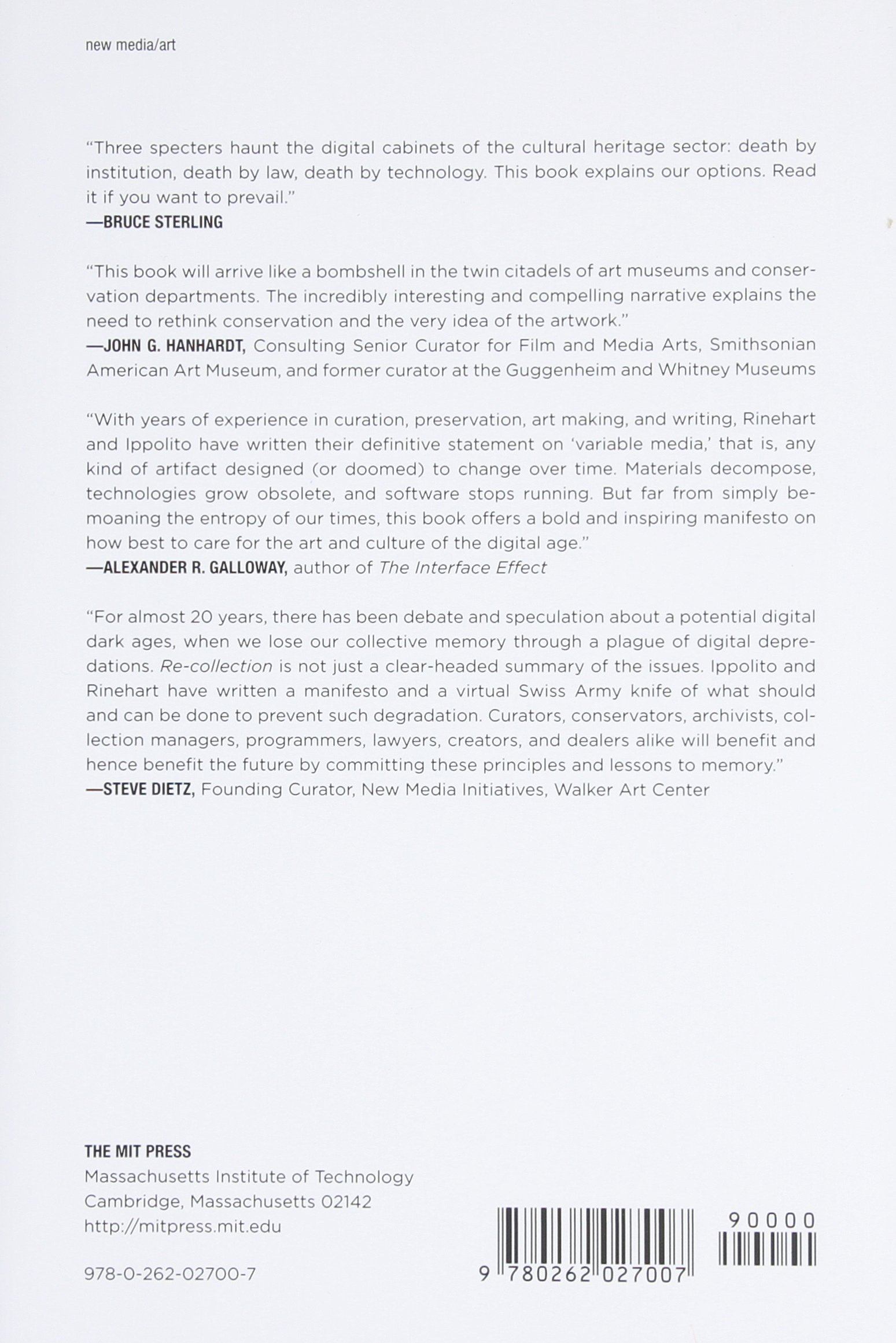 Amazon: Recollection: Art, New Media, And Social Memory (leonardo Book  Series) (9780262027007): Richard Rinehart, Jon Ippolito: Books