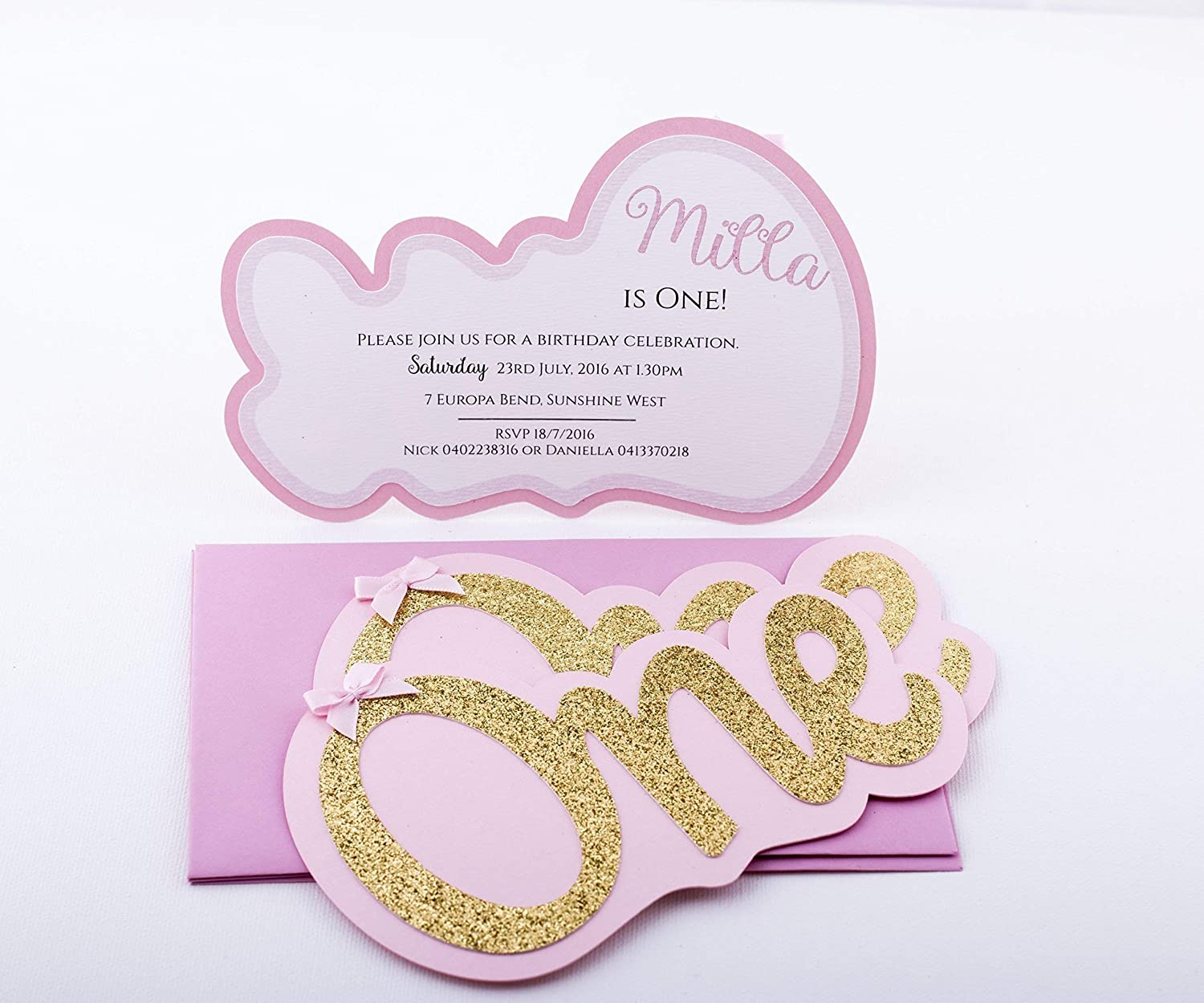 Amazon Girl First Birthday Invitations Pink And Gold Party ONE Shaped Baby Invitation Handmade