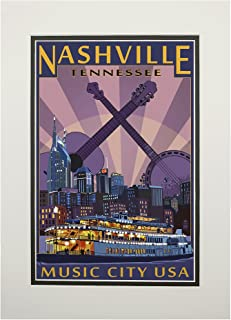 product image for Nashville, Tennesseee - Skyline at Night (11x14 Double-Matted Art Print, Wall Decor Ready to Frame)