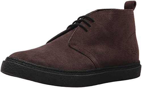 Mens Hawley Mid Suede Oxfords, Black Fred Perry