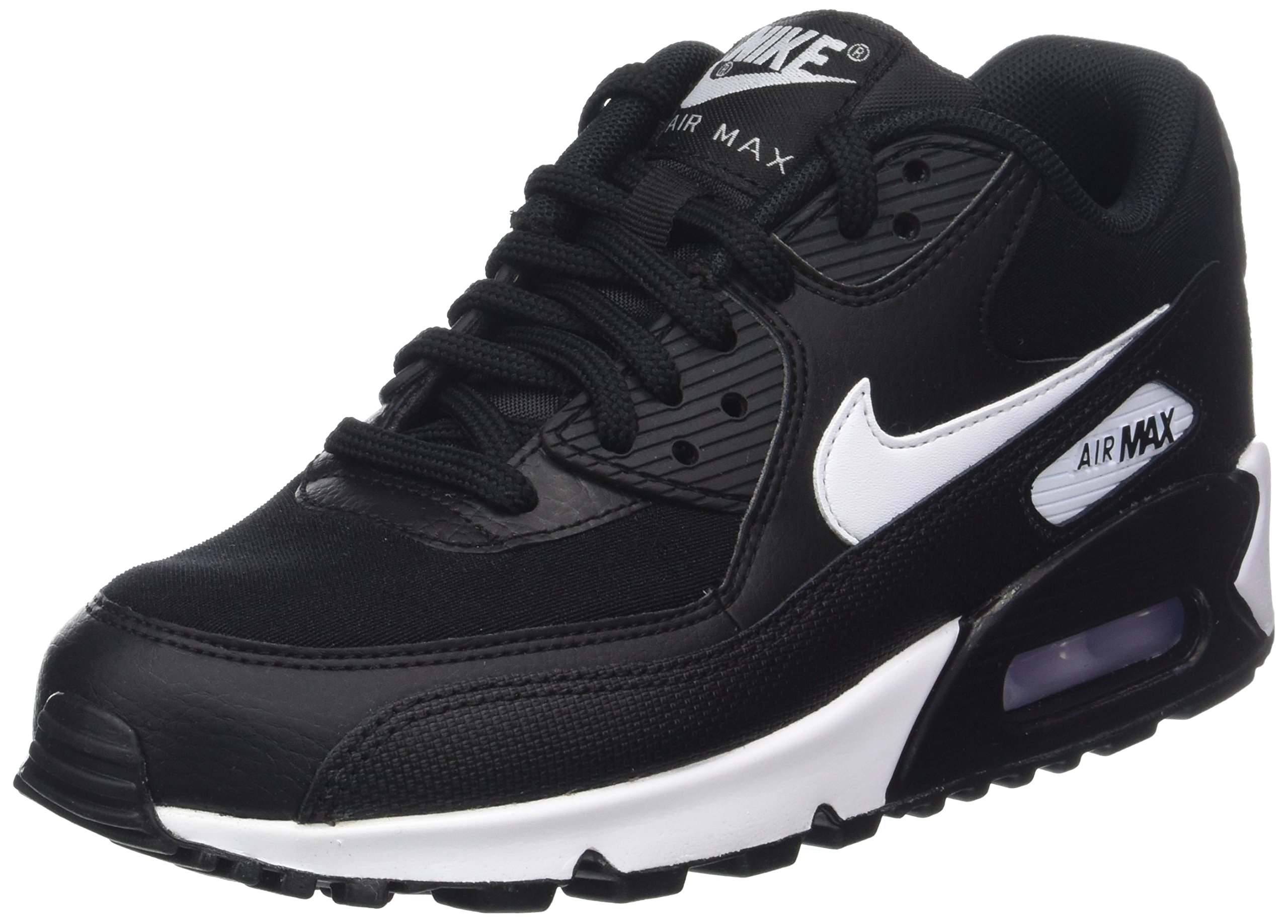 Nike Womens Air Max 90 Black White Leather Trainers 9.5 US