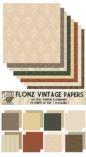 Paper Pack (16blatt 25x25cm) Floral Damask FLONZ Vintage Muster ...