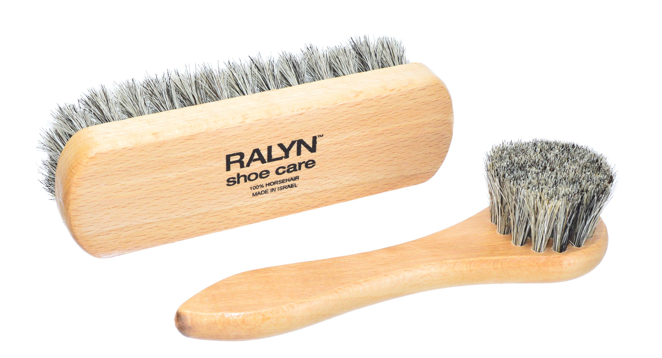 Ralyn 5'' Shoe Shine Brush with Shoe Dauber. 100% Horsehair. Light Color Bristles.