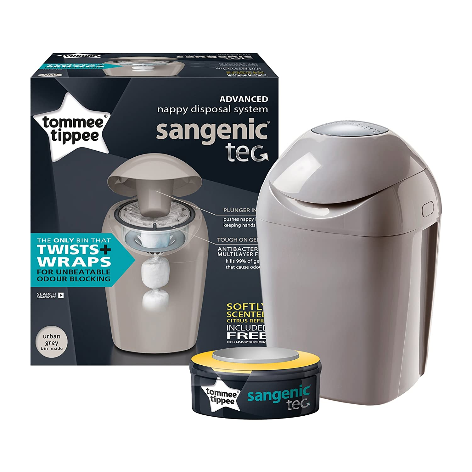 Whisper Pink Tommee Tippee Sangenic Tec Nappy Disposal Tub