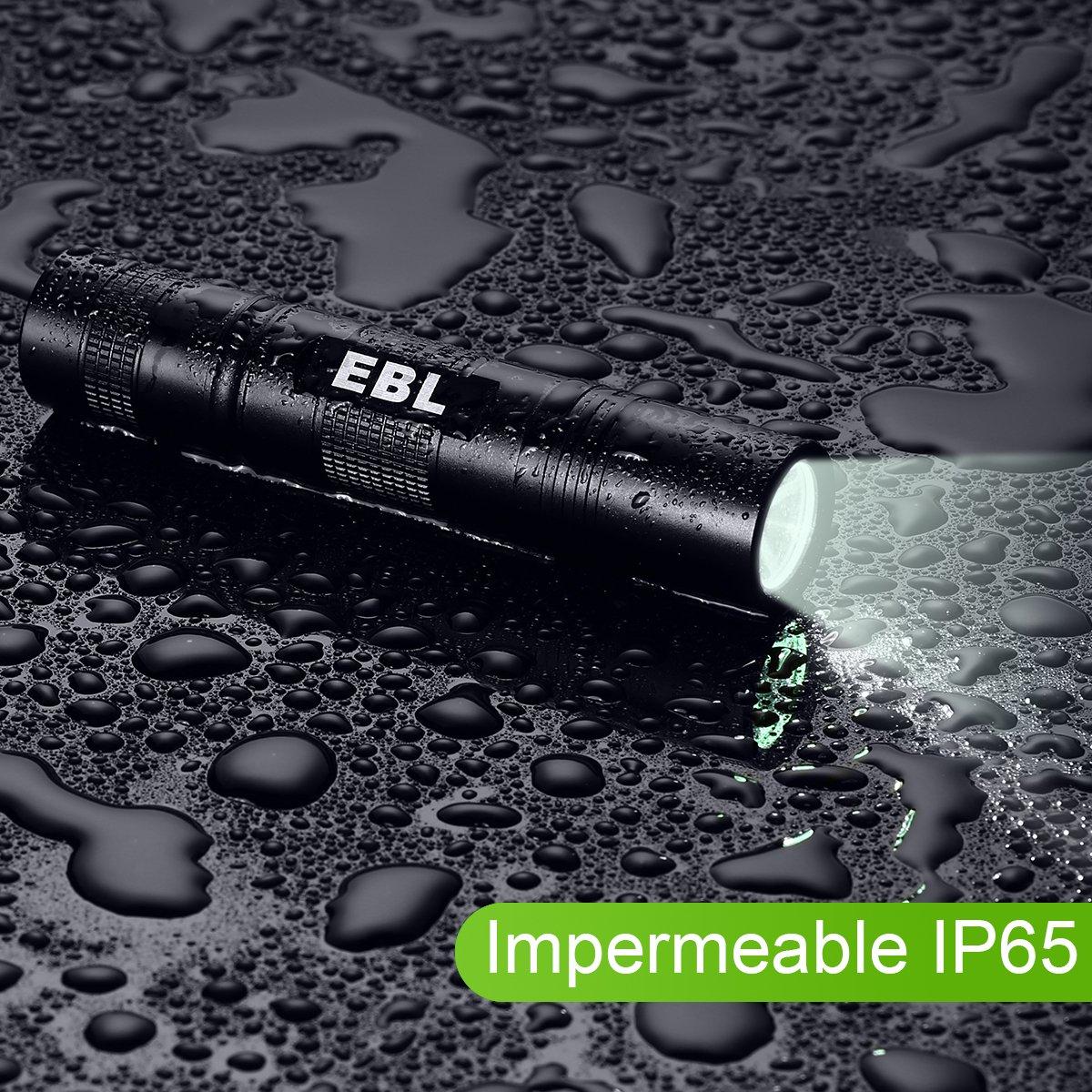 EBL 004 Linterna LED de Mano Resistente al Agua,350 Lumen, Irradiación Distancia: 300-500m con 5 Modos, Perfecta para Ciclismo,Camping, Montañismo-Negro