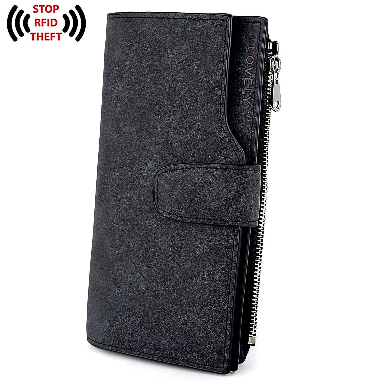 UTO RFID Wallet PU Matte Leather Card Zipper Phone Holder Coin Purse L Black