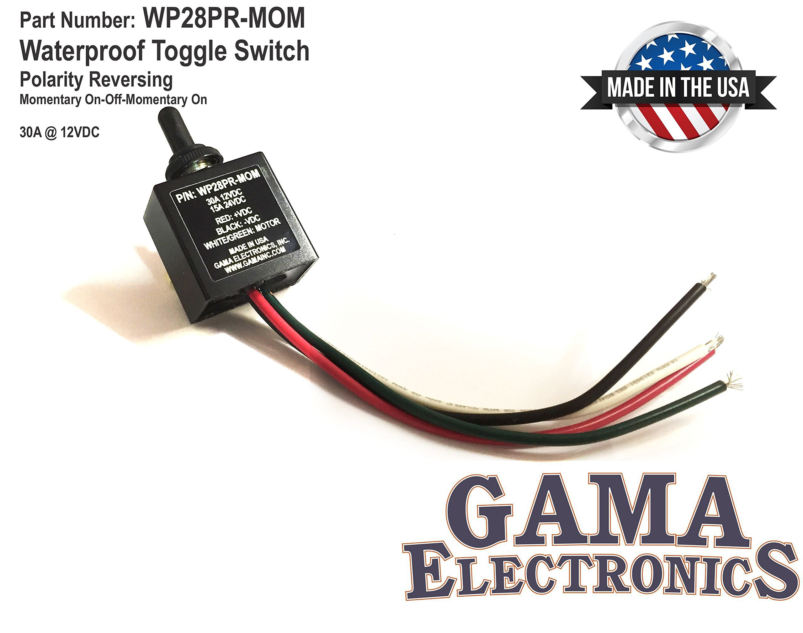 GAMA Electronics Waterproof 3 Position On-Off-On Toggle Switch Reverse Polarity DC Motor Control- Momentary