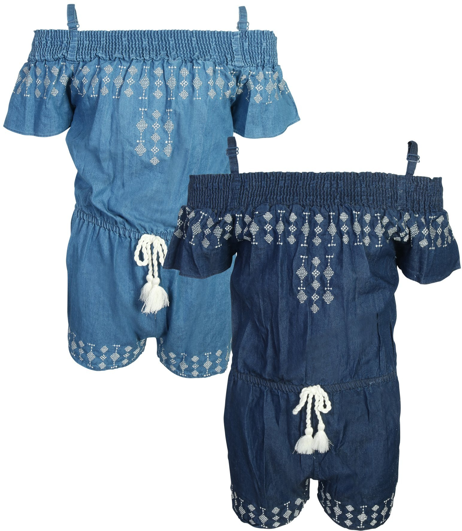 dollhouse Girl's Spring/Summer Denim Romper (2 Pack), Off Shoulder, Size 7/8'