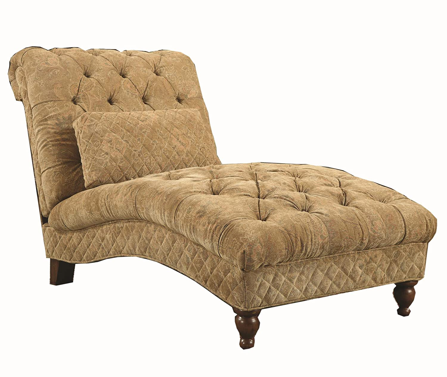 Charming Coaster Home Furnishings Modern Transitional Scroll Tufted Upholstered  Chaise Lounge Chair With Lumbar Pillow   Golden