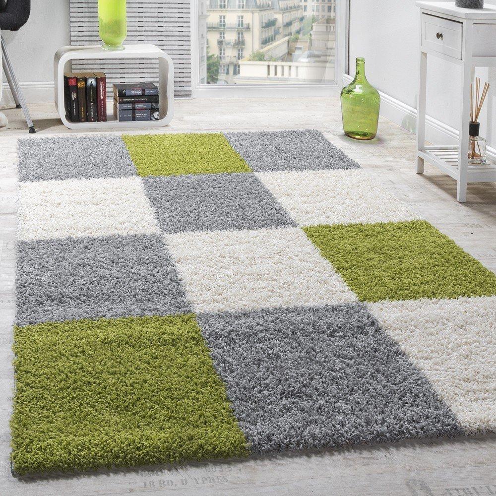 Paco Home Moderner Hochflor Teppich Shaggy Karo Muster Zottel Teppiche Grün Grau Weiß, Grösse 300x400 cm