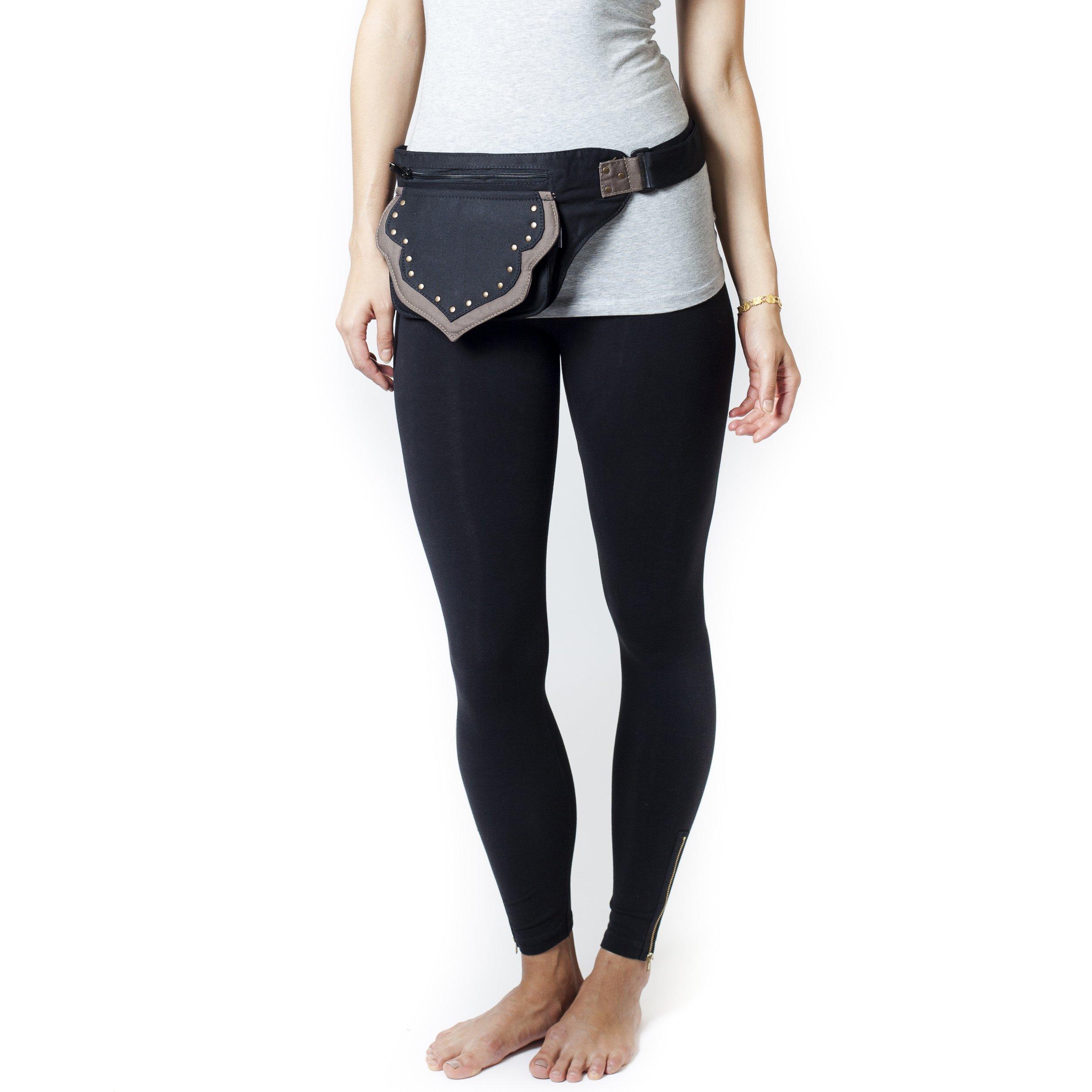 Unisex Cotton Traveller's Hip Bag Belt-Black-One Size