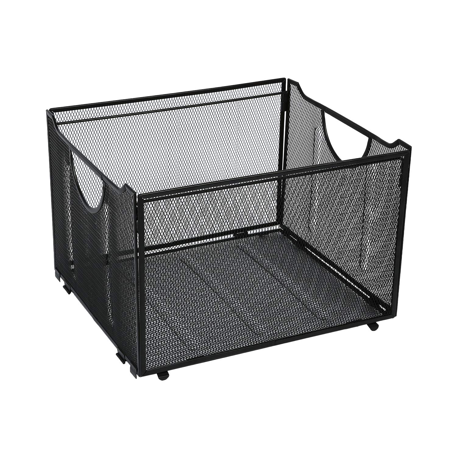 Office Metal Mesh File Organizer with Handle Letter Storage Crate Folder Holder Box for Home Desk Black by AI VINNY