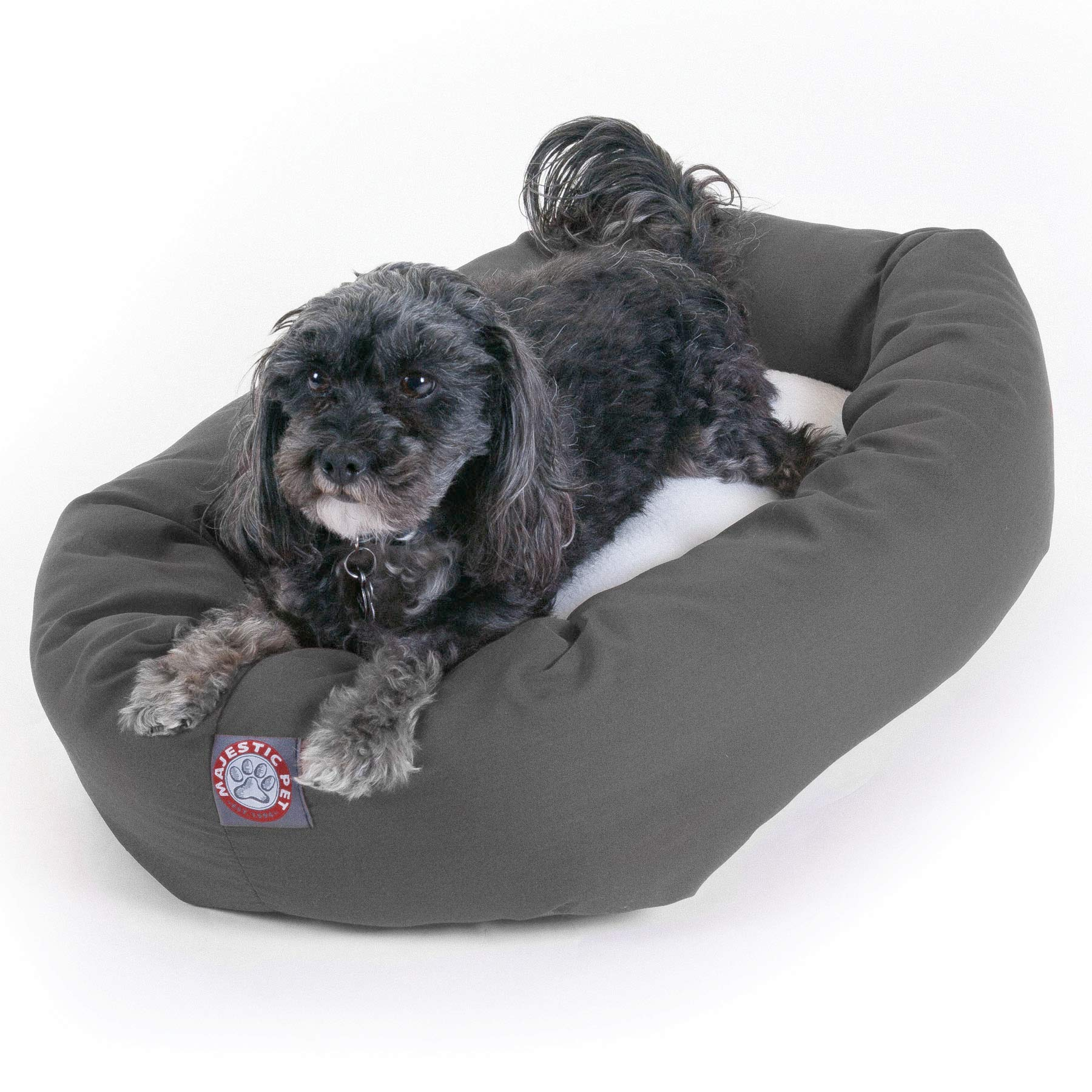Majestic Pet 24'' Gray Bagel Dog Bed with Sherpa Center