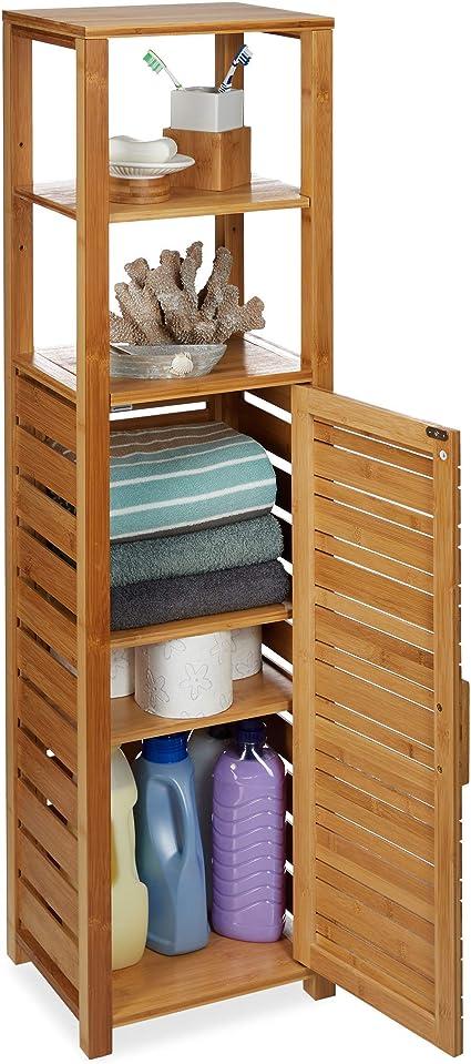 Relaxdays Estantería, Seis estantes, Mueble de baño, Resistente a la Humedad, Marrón, 119 x 33 x 25,5 cm, Bambú
