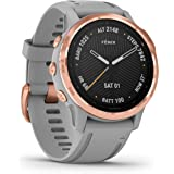 Garmin 010-02159-22  fenix 6S Sapphire, remium Multisport GPS Watch, Smaller-Sized, features Mapping, Music, Grade-Adjusted Pace Guidance and Pulse Ox Sensors, Rose Gold w/Gray Band ,Rose Gold