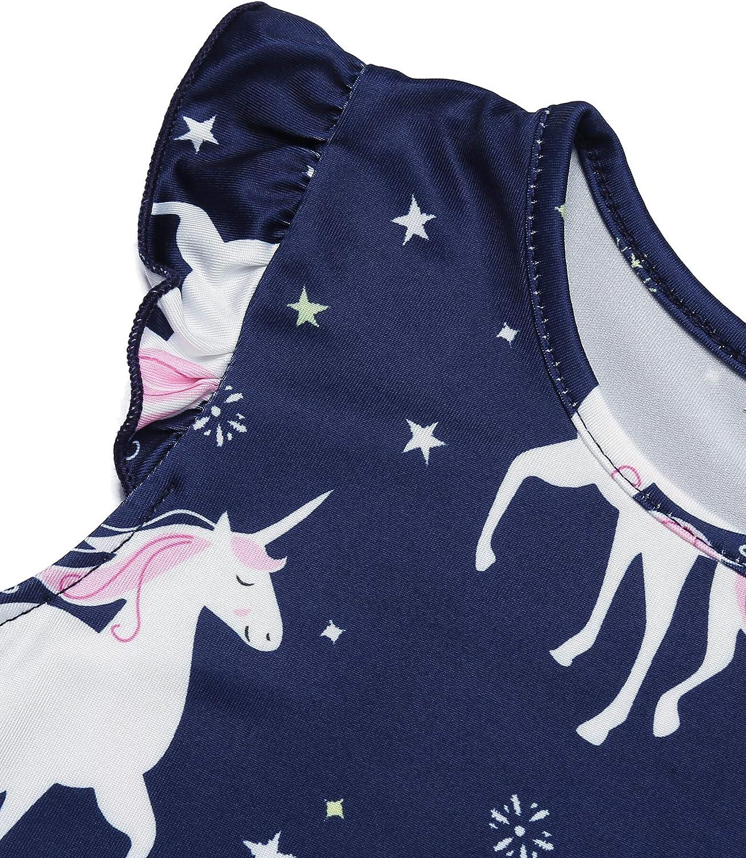 Bricnat Girls Nighties Unicorn Pony Short Sleeve Dress Cotton Sleepwear for 2-11 Years