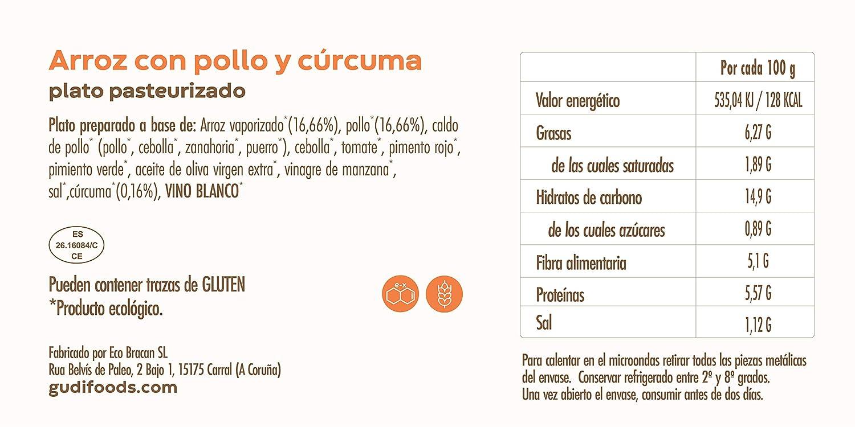 GUDI 6-Pack Degustación Eco 1500 g (1 Arroz con pollo + 1 Ensaladilla rusa + 1 Lasaña vegetal + 1 Arroz con leche de almendras + 1 Flan de huevo y leche de ...