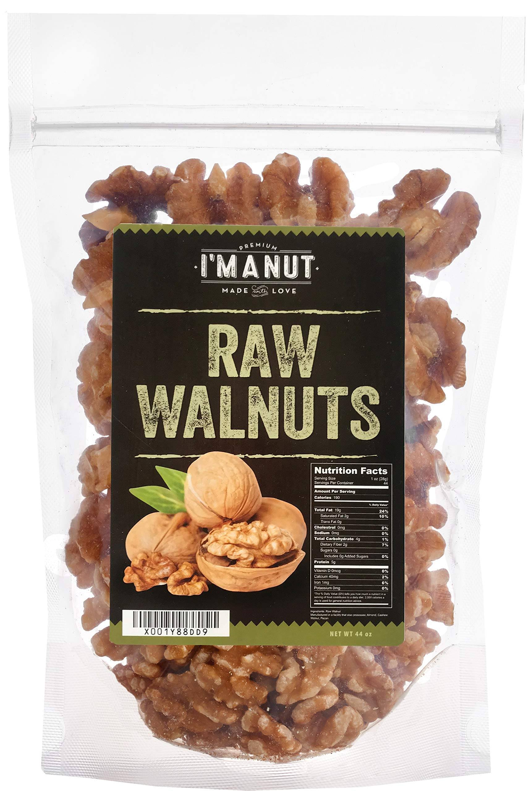 Raw Walnuts (2.75 Pounds) Compares to Organic, Halves and Pieces,100% Natural,NO PPO, No Preservatives, Non-GMO, Shelled, by I'm A Nut