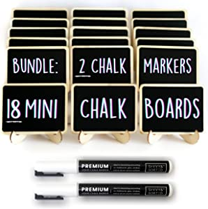 18 Mini Chalkboard Signs for Food + Erasable Fine Tip Chalk Markers (2 Pack) - Small Tabletop Chalkboard Signs with Easel - White Liquid Chalk Pens - Party Buffet Food Label Decoration - Place Cards