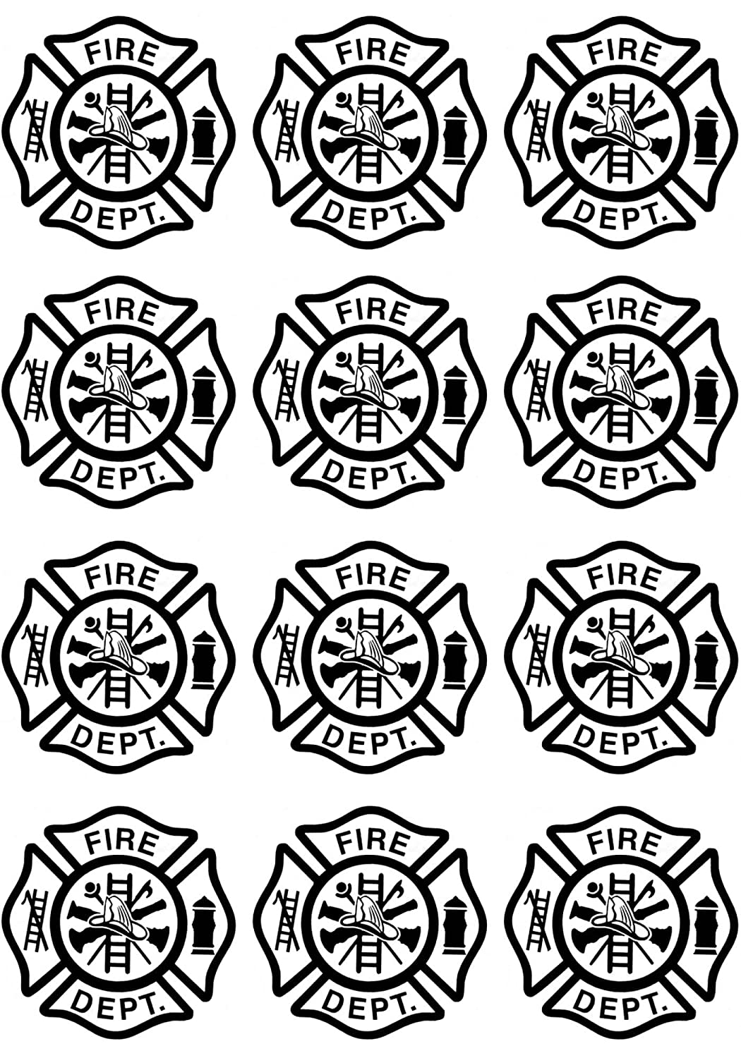 Firefighters Maltese Cross 1-1//8 Black 17CC879 Fused Glass Decals