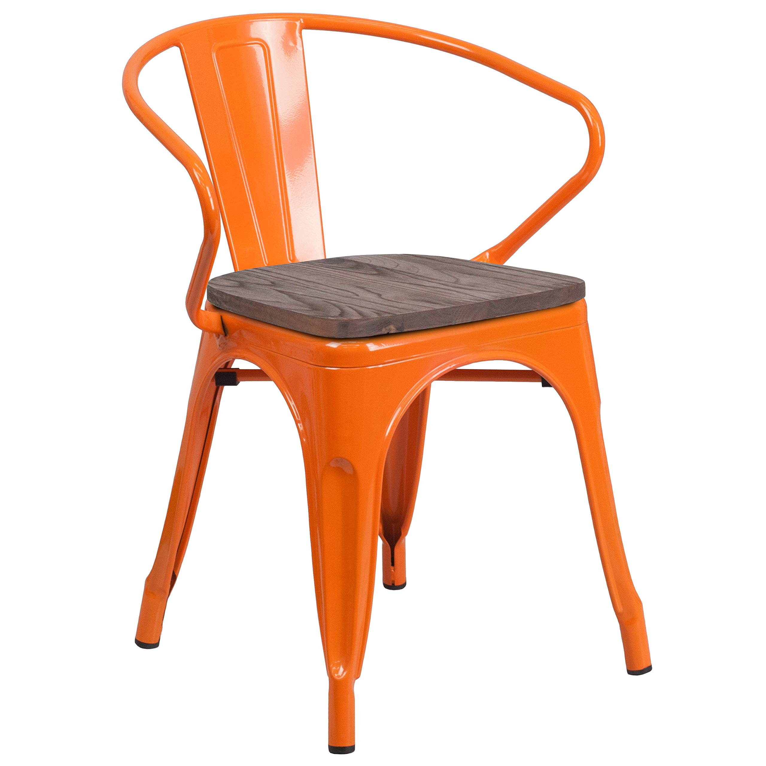 MFO Orange Metal Chair with Wood Seat and Arms