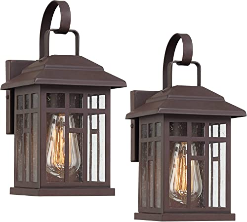 Bester Rustic Outdoor Wall Lights Set of 2 Fixture Carriage Style Bronze 12 1/2″ Clear Glass Lantern
