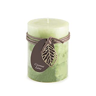 "Darice DYN3490 Coconut Lime Layered Pillar Candle, 3"" by 4"""