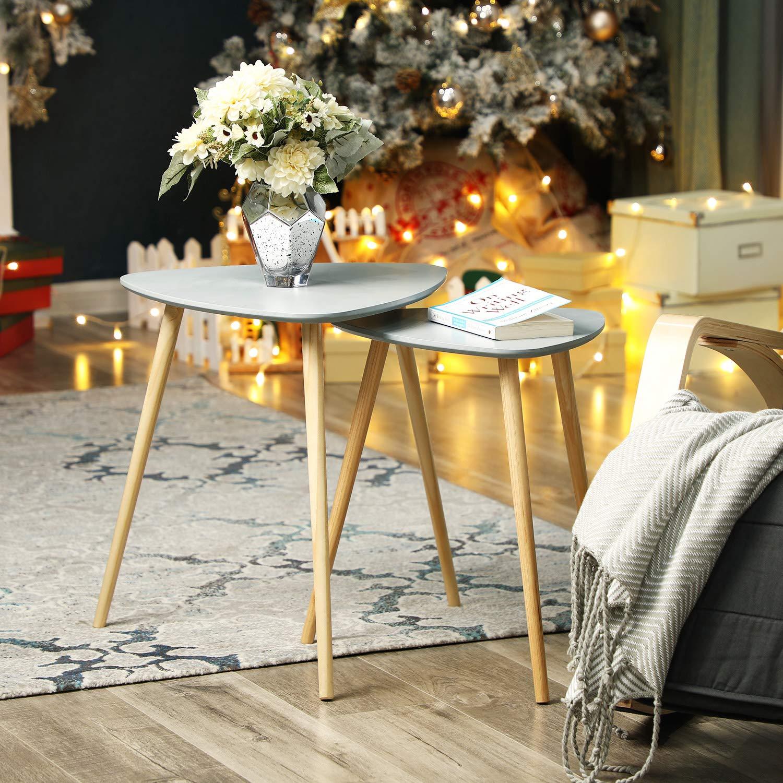 SONGMICS Lot de 2 Tables Basses superposables Table d/'appoint Triangulaire Style scandinave Pieds en Bois de pin Massif Couleur Grise et Naturelle LET17GY