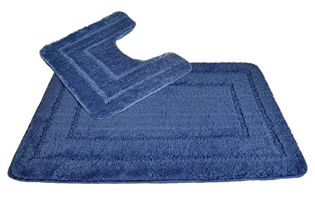 Pedestal And Bath Mat Set 100 Luxury Microfibre Polyester Quick