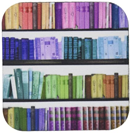 3dRose CST 112957 1 Colorful Bookshelf Books Rainbow Bookshelves Reading Book Geek Library Nerd Librarian Author Soft Coasters