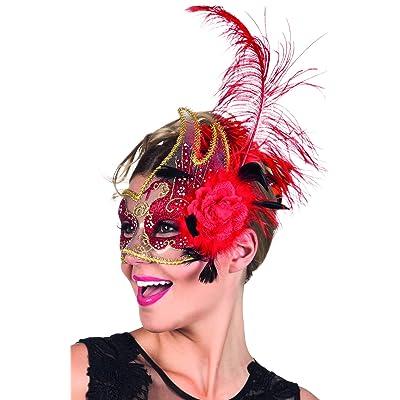 Boland 00281–Venezia avec fleur et plumes Masque de cygne, Rouge
