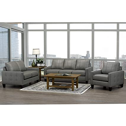 Admirable Amazon Com Overstock Roy Mid Century Modern Grey Top Grain Creativecarmelina Interior Chair Design Creativecarmelinacom