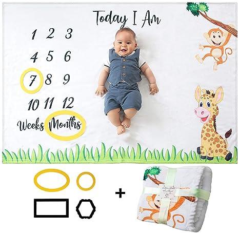 Regalos Bebe Personalizados Amazon.Manta Mensual De Hito Para Bebe Unisex Manta Mensual De Bebe Para Fotos Regalos Personalizados Para Futuras Mamas Registra Su Edad Y