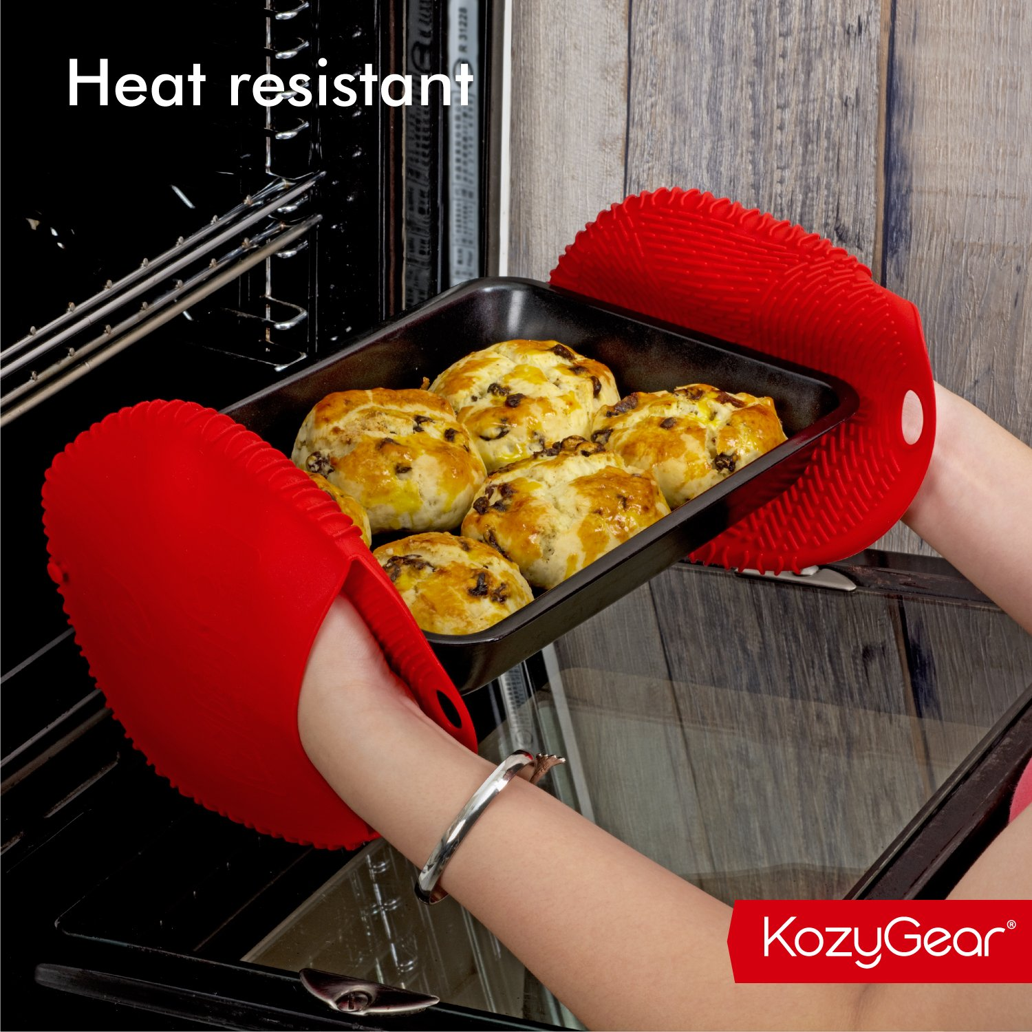 KozyGear Premium 442 °F Heat Resistant Silicone Glove Holder/Oven Mitt Pair Set for Hot Pot [Z4 Series] (RED) by KozyGear (Image #7)