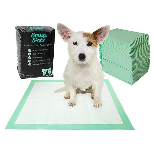 SmugPets - 50 empapadores para Entrenar Cachorros - 6 Capas - con atrayente y núcleo superabsorbente: Amazon.es: Productos para mascotas