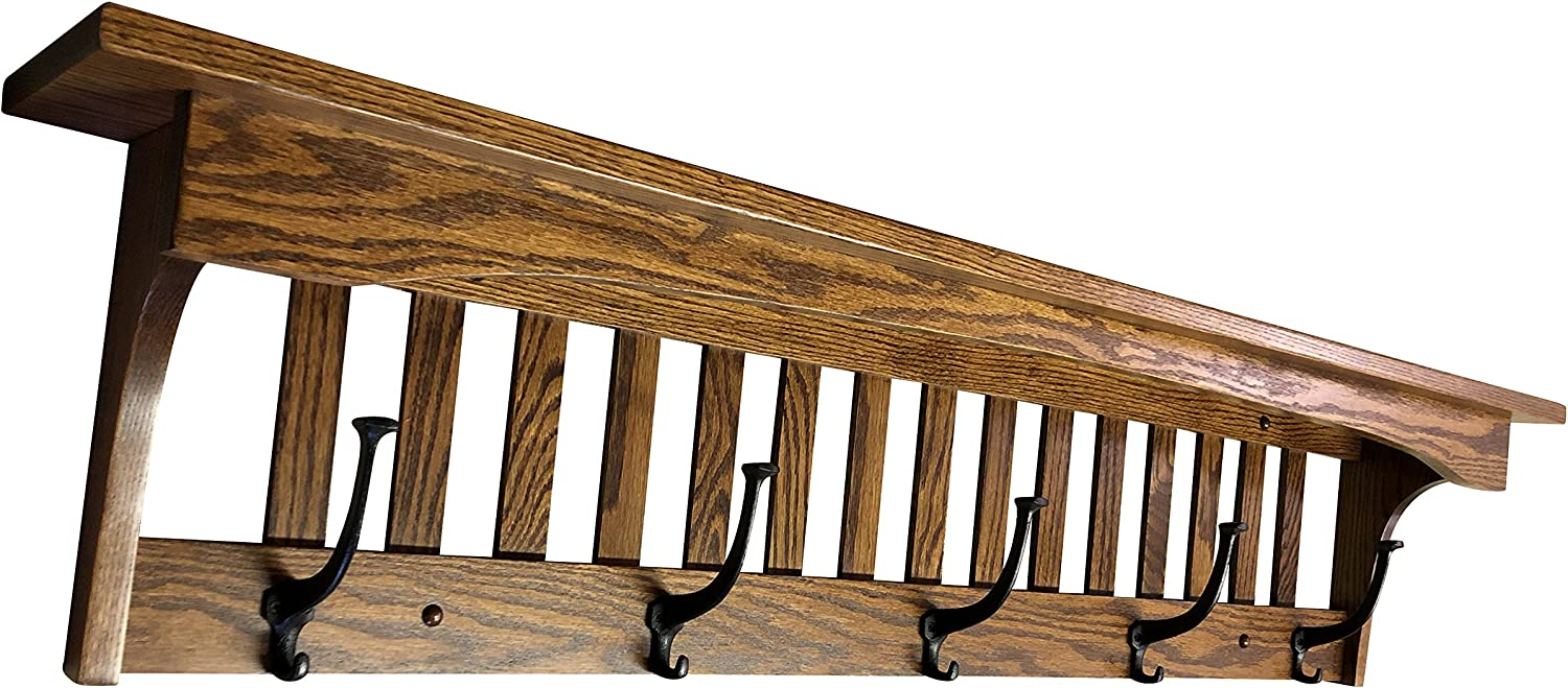 Amazon Com Wood Coat Rack Shelf Wall Mounted Mission Captain 5 Hooks Oak Wood Contact Us With Your Stain Or Paint Choice Custom Available Home Kitchen