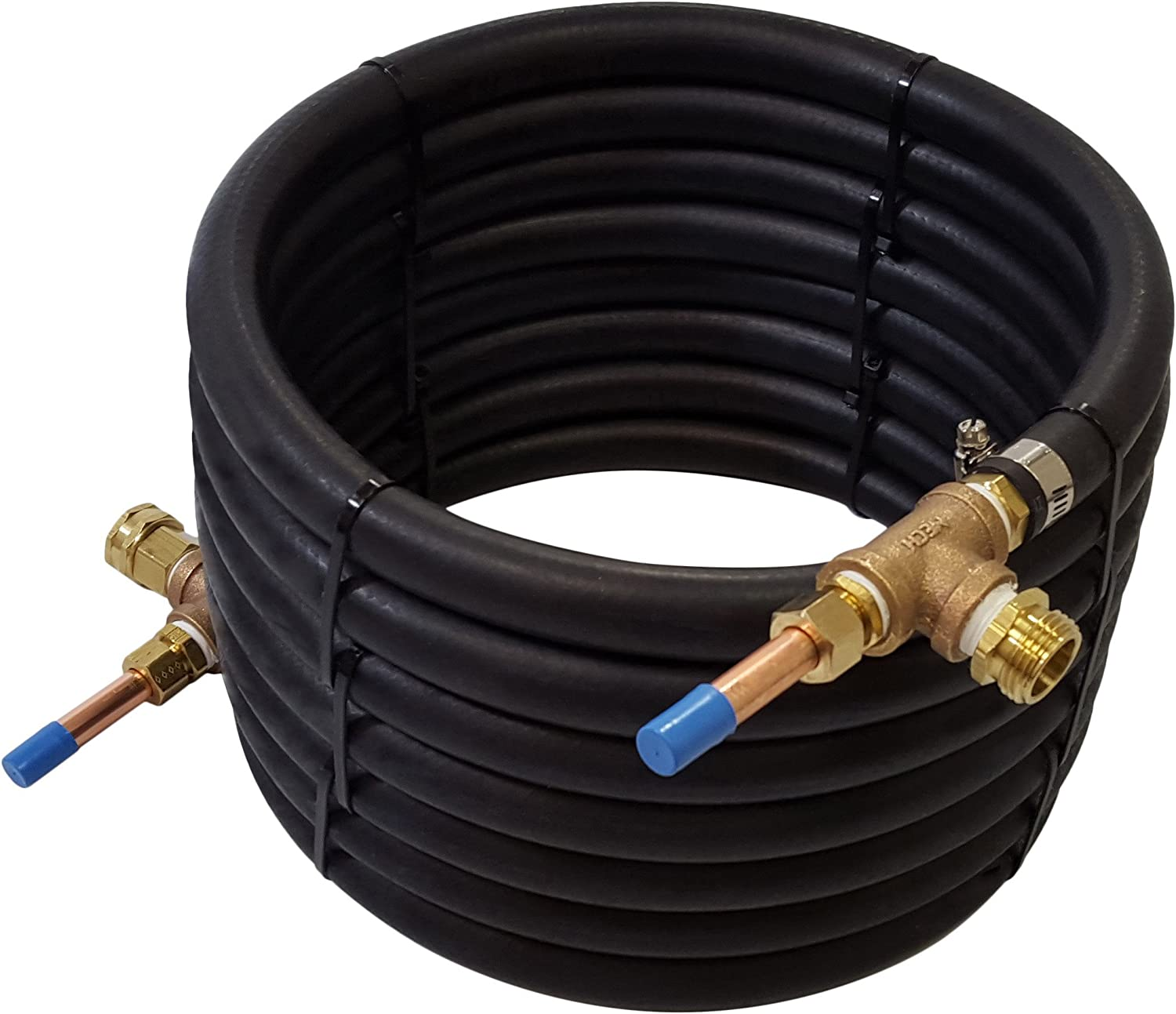 "NY Brew Supply Deluxe Counterflow Wort Chiller with Copper Tubing, 1/2"", Bronze"