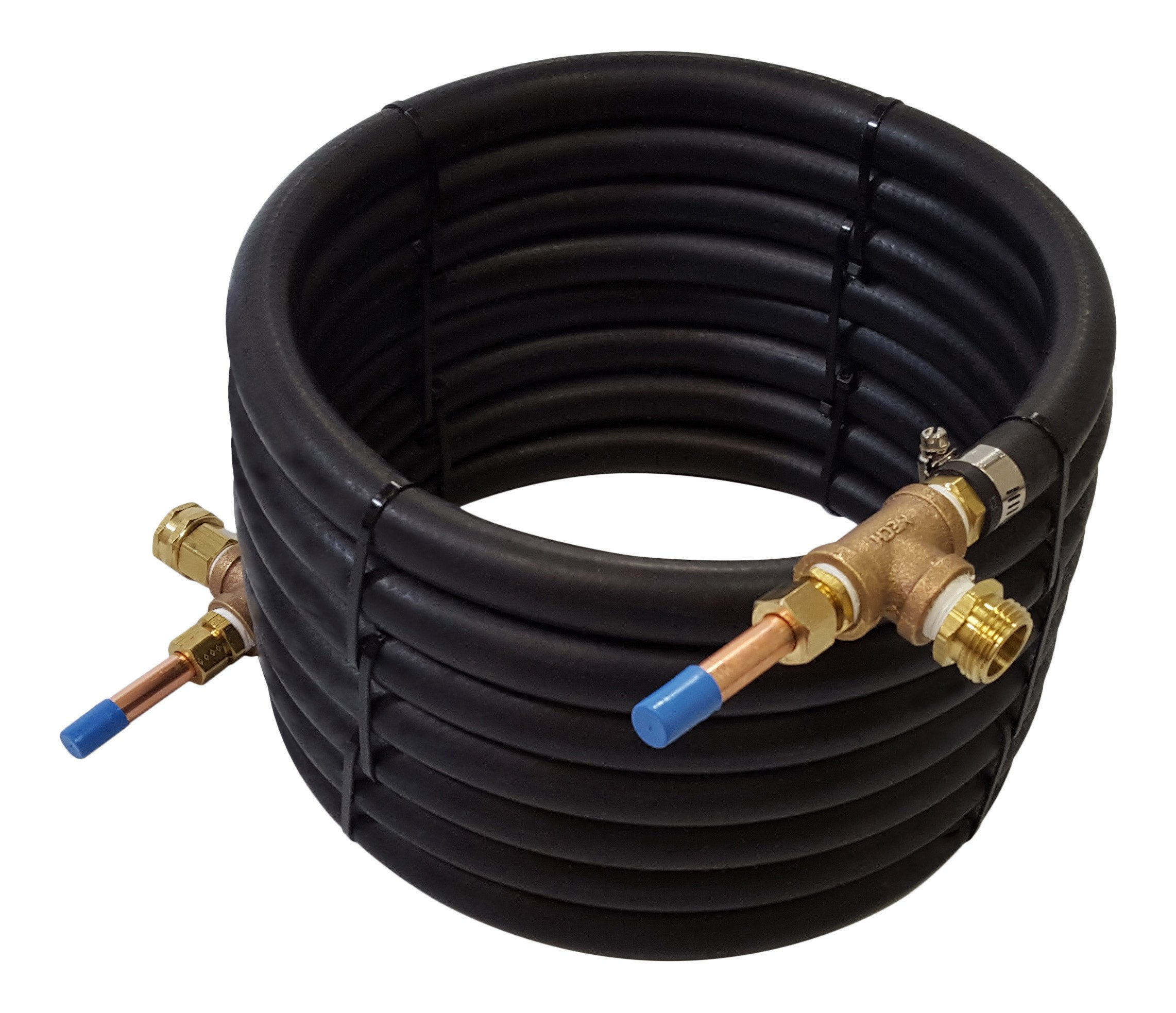 NY Brew Supply Deluxe Counterflow Wort Chiller with Copper Tubing, 1/2'', Bronze
