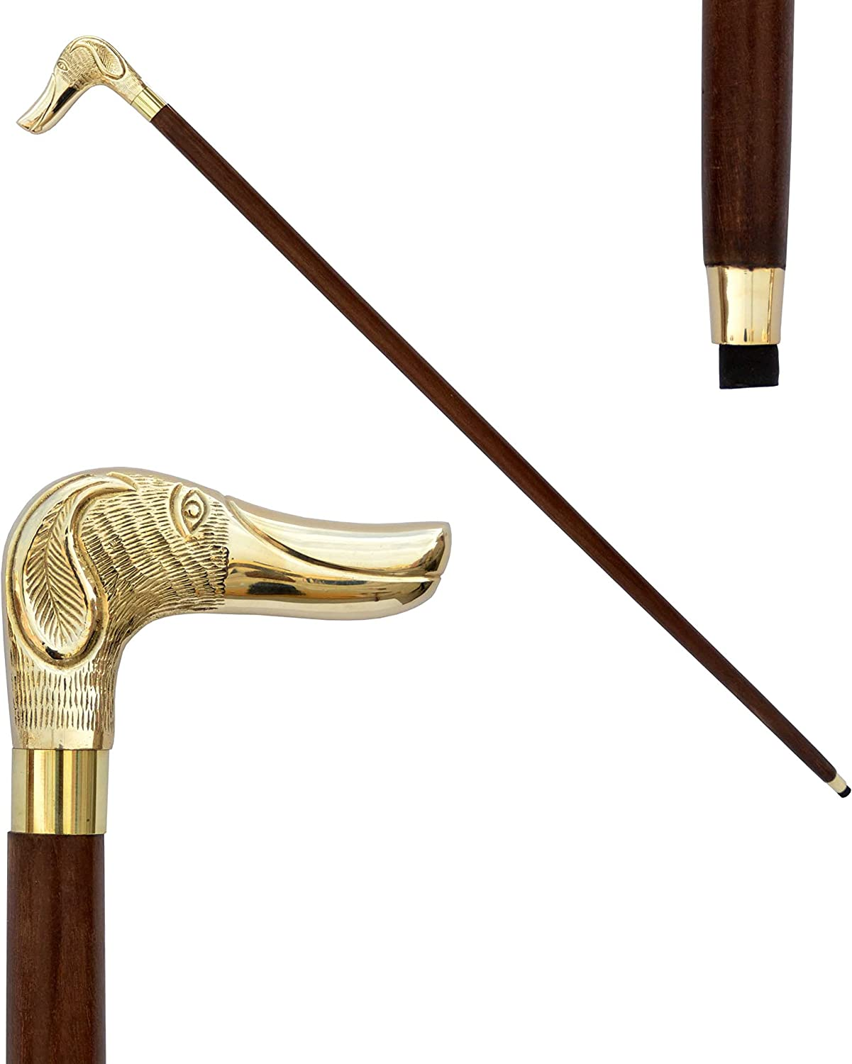 """Nautical World Gifts Wooden 37/"""" Decorative Walking Stick Cane for Men and Women with Metal Brass Handle Design1"""