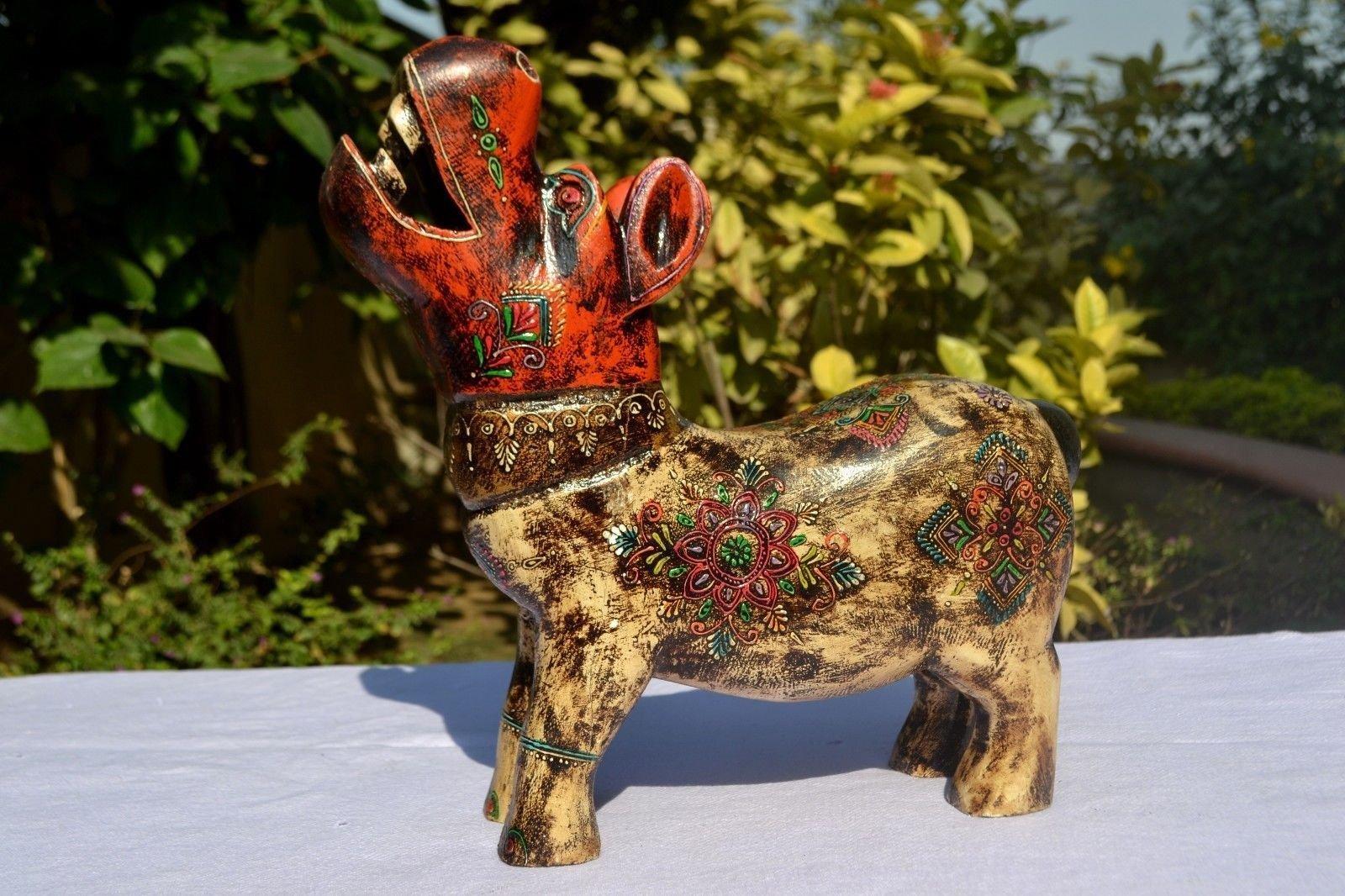 CraftVatika wooden Egyptian Hippo Figurine Hippopotamus Vintage Miniature Animal Blown Hand Carved Art deco Hippo